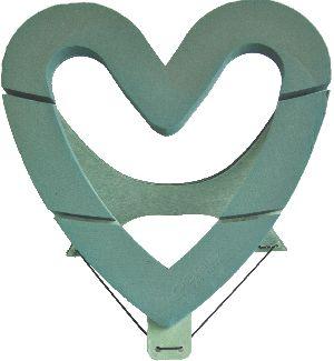Oasis® Bioline® GRÜN mit Holzunterlage Herz Offen 43x43x4cm 11-07455