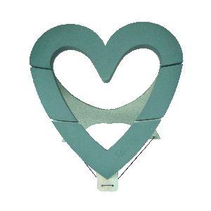 Oasis® Bioline® GRÜN mit Holzunterlage Herz Offen 60x60x5cm 11-07456