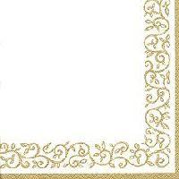 Servietten 33cm Design Gold-Creme Romantic Border