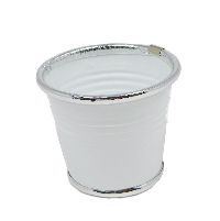 Topf Minio WEISS 16128 10x8x7cm Metalltopf Silberrand