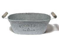 Jardiniere Flowers&Garden GRAU-WEISS  11791 27x16x10cm mit Henkel, Metall