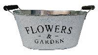 Jardiniere Flowers&Garden GRAU-WEISS  11792 31x24,5x17cm mit Henkel, Metal