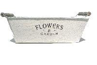 Schale Flowers&Garden, Metall GRAU-WEISS  11832 rechteckig30x20cm mit Henkel