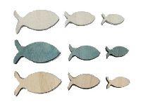 Fisch / Holzfische 16717 NATUR-BLAU-WEISS 24Stück Streu 2,5-5cm 3Größen 3Farben
