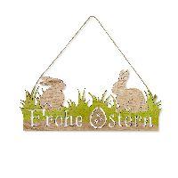 Schild Frohe Ostern NATUR 63202 40x17cm Holz mit Jutekordel
