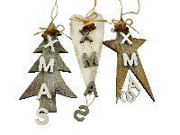 Holzhänger X-MAS 13235 braun-creme-grau-washed Stern-Baum-Herz mit Glöckchen