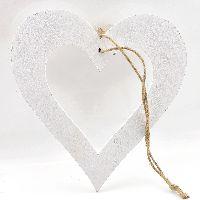 Dekohänger Frisky ALTWEISS 22-5080 Herz 19cm mit weißem Band