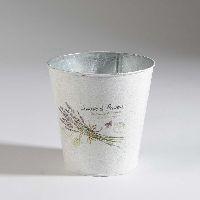 Metall Topf Lavendel WEISS 35611 13x13cm