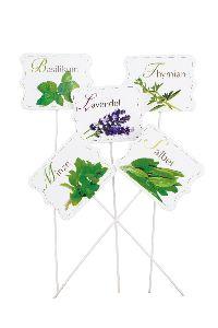 Kräuterstecker mit Bild WEISS Thymian/Lavendel   Holz 6,5x5cm Basilikum/Salbei/Minze