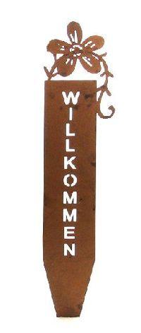 Roststecker Willkommen 58847 naturrost behandelt Blume 6x30,5cm Metall