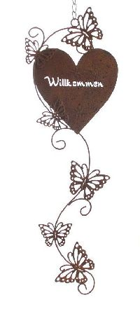 Dekohänger Rostherz Willkommen ROSTFARBEN 58928 Metall 17x80cm mit Schmetterlingranke