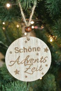 Holzhänger Schöne Adventszeit NATUR 36HIC21 Ø7cm Baumscheibe mit Spruch