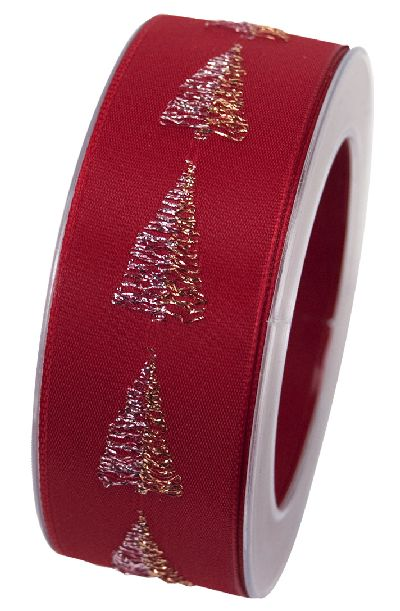 Band Christbaum ROT 20 X886 Weihnachtsband 40mm 15Meter formstabile Kante