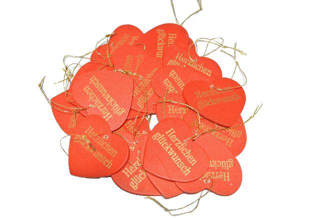 Herzhänger mit Spruch rot-gold / 24 Stück 4cm   Herzlichen Glückwunsch