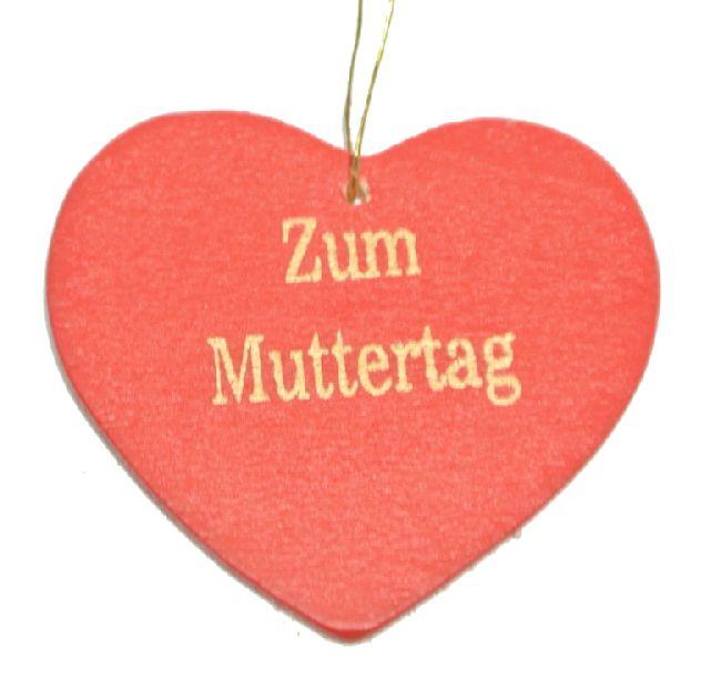 Herzhänger mit Spruch rot-gold / 24 Stück 4cm   Zum Muttertag