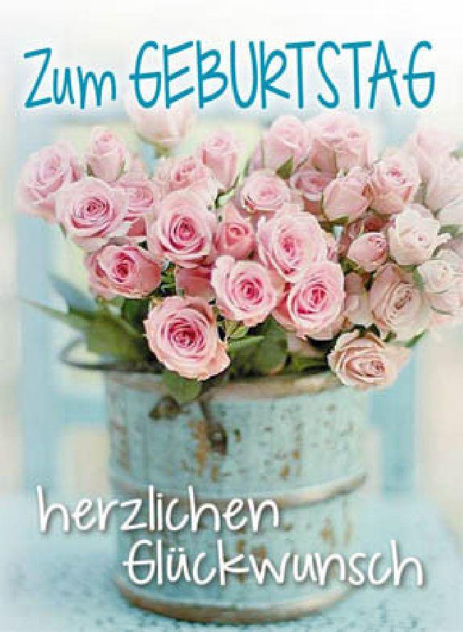 Minikarten Türkis / Zum Geburtstag herzli Pictural mit Klammer