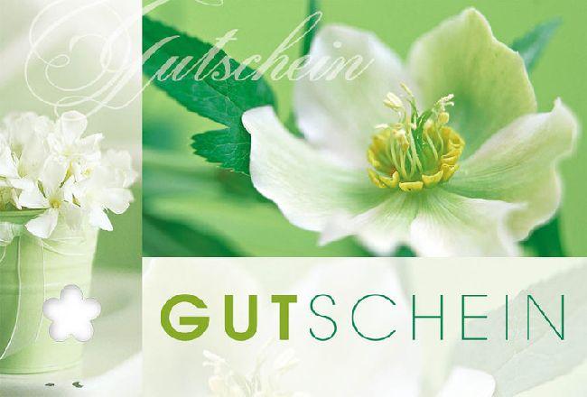 Gutschein Weiss Grün / mit Blume Fleur Plus