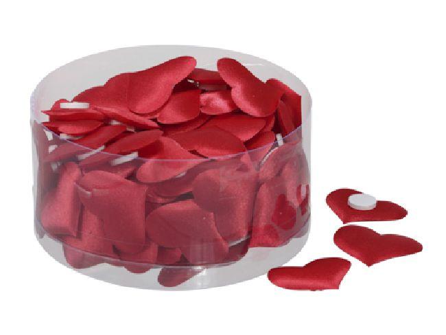 Herz Satin ROT mit Klebepunkt  320260 28x32mm  1 Box=100 Stück