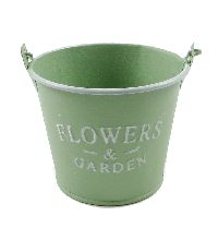 Eimer Flowers & Garden, Metall GRÜN  19378 12x10x8,5cm  Bügel u.Holzgriff