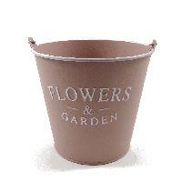 Eimer Flowers & Garden, Metall ROSA  19374 14x13x10cm  Bügel u.Holzgriff