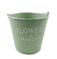 Eimer Flowers & Garden, Metall GRÜN  19379 14x13x10cm  Bügel u.Holzgriff