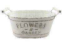 Jardiniere Flowers&Garden CREME-BRAUN  19545 31x20x17cm mit Henkel, Metal