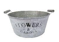 Schale Flowers&Garden, Metall GRAU-WEISS  11830 Ø36cm H15cm mit Henkel