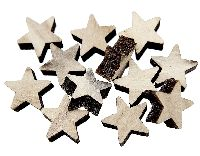 Stern Streu aus Holz NATUR  80642 2,5x0,7cm  Box=48Stück