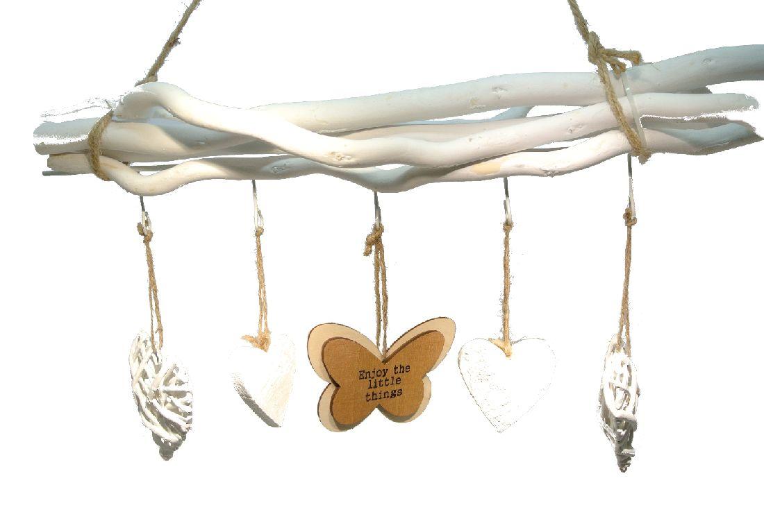 Dekozweig HEART WEISS-NATUR CK Schmetterling ca.50x60cm (BxH)