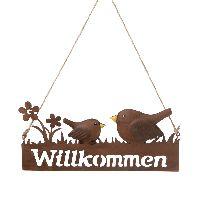 Schild Willkommen rostfarben 73866 Metall Vögel 24,5x11cm zzgl. Schnur