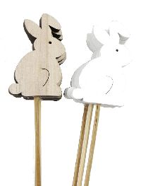 Holzstecker Waldtier NATUR+WEISS 17205 Holz Hase 7cm + Stab=25 cm