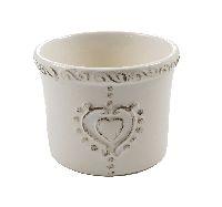 Keramik Topf Sweetheart WEISS-BRAUN-GLASIERT Ø8,5xH6,5cm 59570