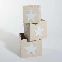 Schublade Stars S/3 Vintage NATUR-WEISS 33343 15x15x14cm 10x10x10cm/12,5x12,5x12cm/