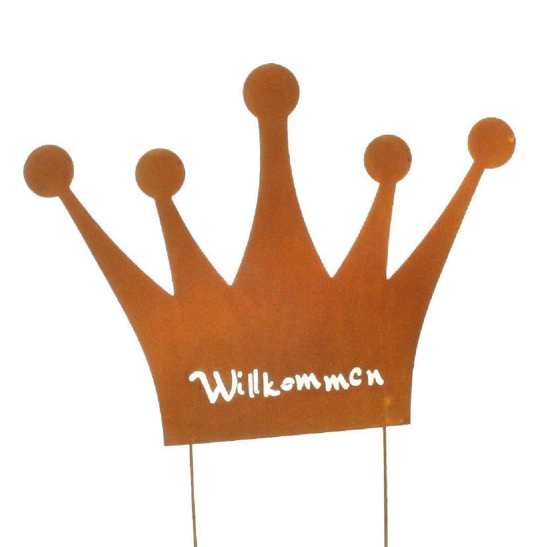 Krone Willkommen Roststecker NATURROST 56814 33x25/38cm mit 2 Steckern