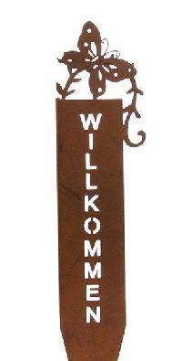 Roststecker Willkommen 58847 naturrost behandelt Schmetterling 6x30,5cm Metall