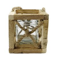 Laterne Rustikale 17183 Holz Seil Glas 15x15x15,5cm (LxBxH) mit Glas