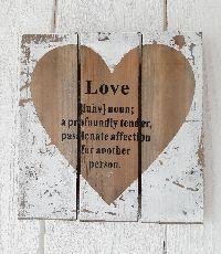 Bild Love / Holzbild WHITE-WASH 822972 24x24cm