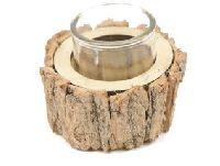 Teelichthalter Baumrinde NATUR 22-0776 Ø13cm H6cm mit Glas