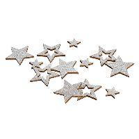 Sternstreu Glitter SILBER-GLIMMER 22707 Holz Ø2cm+Ø4cmx0,3mm  2 Größen Mix