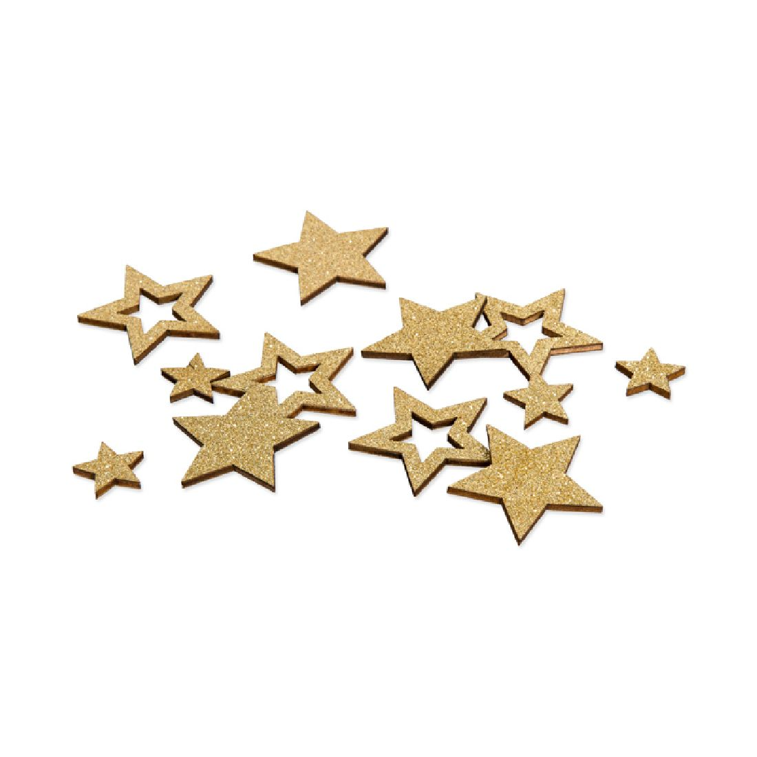 Sternstreu Glitter GOLD-GLIMMER 22707 Holz Ø2cm+Ø4cmx0,3mm  2 Größen Mix