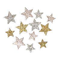 Sternstreu Glitter rosè-silber-gold 22521 Holz Ø3cm+Ø4cmx0,2mm  2 Größen Mix