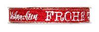 Band Frohe Weihnachten ROT-WEISS 714 77 meliert B=15mm L=15Meter Leinenkante