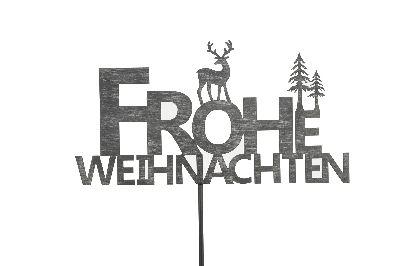 Rostschild FROHE WEIHNACHTEN GRAU 490367 Stecker 35xH18,5cm + 98cm Stab