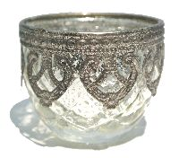 Bauernsilber Glas silber-crackle Metallmanschett TeelichtglasØ6cmH5,5cm49802007
