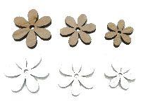 Holz Streuteile Naturstyle WEISS-NATUR 60042 Dicke0,5cm Blumen 2,5cm+3,5cm+4cm