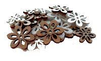 Holz Streuteile Naturstyle WEISS-NATUR 66479 2Größen Blumen 2,5+3,5cm x 0,3cm