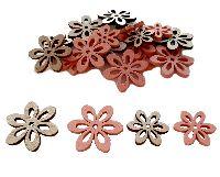 Holz Streuteile Naturstyle KORALLE-NATUR  66482 2Größen Blumen 2,5+3,5cm x 0,3cm