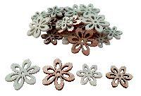 Holz Streuteile Naturstyle MINT-NATUR  66481 2Größen Blumen 2,5+3,5cm x 0,3cm