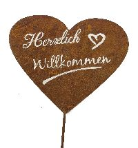 Gartenstecker Rost mit Spruch Herzlich Willkommen Herz 21x58cm 61542