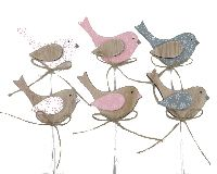 Vogel Tricolore ROSA-WEISS-GRAU Holz 19013 Stecker 9x5x0,4cm +20cm Stiel